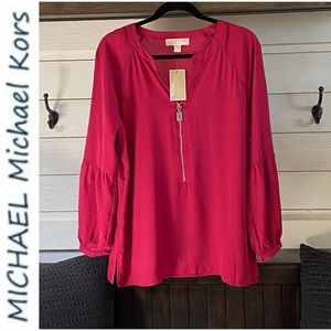 NWT MICHAEL KORS Tunic Style Blouse With Z…